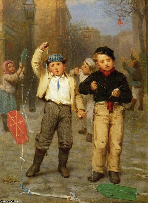 Flying Kites, 1867 by John George Brown (1831-1913, United Kingdom) | Art Reproduction | WahooArt.com
