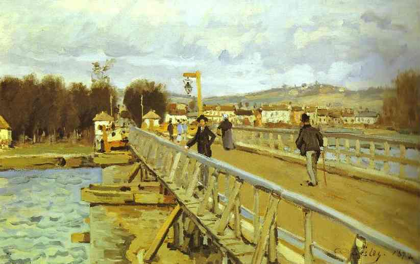 Footbridge at Argenteuil, Oil On Canvas by Alfred Sisley (1839-1899, France)