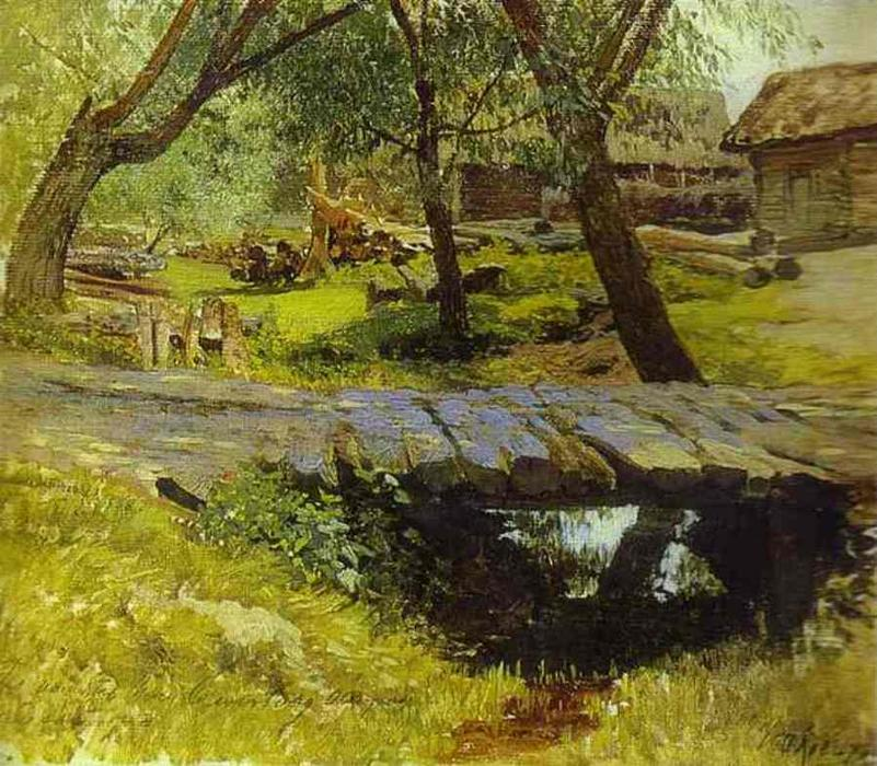 Buy Museum Art Reproductions | Footbridge. Savvina Sloboda. Study, 1884 by Isaak Ilyich Levitan (1860-1900, Russia) | WahooArt.com