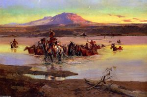 Charles Marion Russell - Fording the Horse Herd