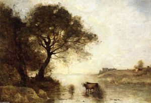 Jean Baptiste Camille Corot - A Ford with Large Trees