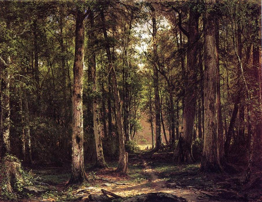 Forest Scene with Mother and Child, 1877 by George Hetzel (1826-1899, France) | Reproductions George Hetzel | WahooArt.com