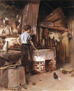 Theodore Robinson - The Forge (also known as An Apprentice Blacksmith)
