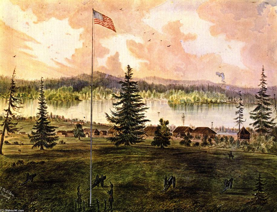 Fort Vancouver, Oregon, Watercolour by James Madison Alden (1834-1922, United States)
