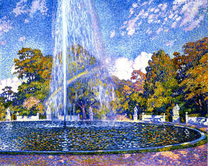 Fountain at Sans-Souci, Potsdam, Oil On Canvas by Theo Van Rysselberghe (1862-1926, Belgium)