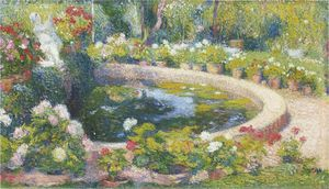 Henri Jean Guillaume Martin - Fountain in the center of the park