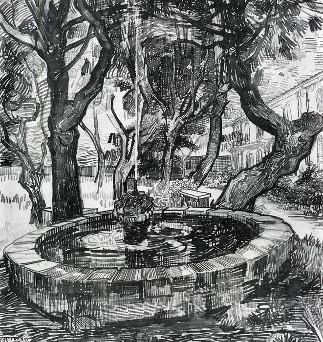 Fountain in the Garden of Saint-Paul Hospital, 1889 by Vincent Van Gogh (1853-1890, Netherlands) | Art Reproductions Vincent Van Gogh | WahooArt.com