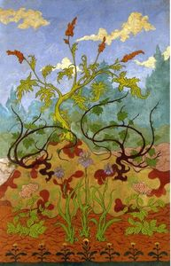 Paul Ranson - Four Decorative Panels: Iris and Large Yellow and Mauve Flowers
