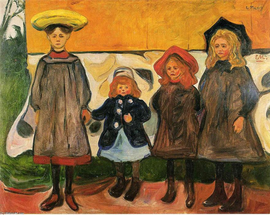 Four girls in Arsgardstrand, Oil On Canvas by Edvard Munch (1863-1944, Norway)