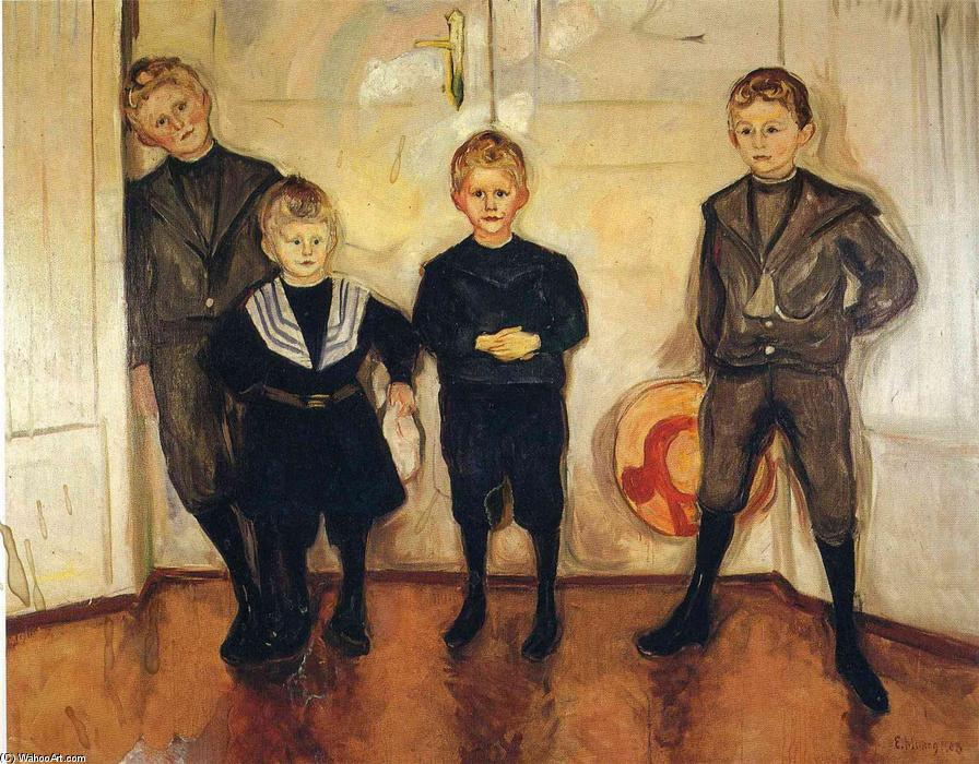 The Four Sons of Dr. Linde, Oil On Canvas by Edvard Munch (1863-1944, Sweden)