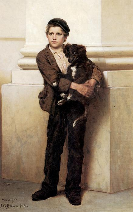 Frank and His Dog, Oil On Canvas by John George Brown (1831-1913, United Kingdom)