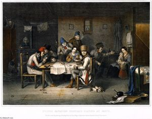 Cornelius David Krieghoff - French Canadian Habitans Playing Cards