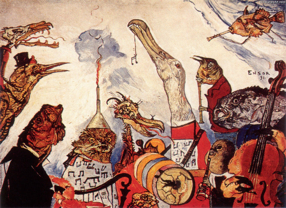 The Frightful Musicians, 1891 by James Ensor (1860-1949, Belgium) | WahooArt.com