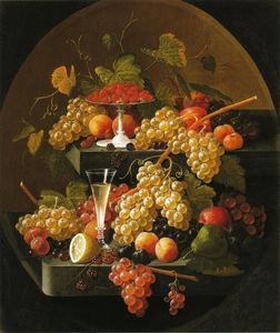 Severin Roesen - Fruit and Wine Glass
