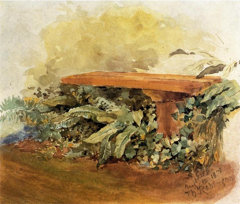 Garden Bench with Ferns, 1878 by Theodore Robinson (1852-1896, United States) | Painting Copy | WahooArt.com