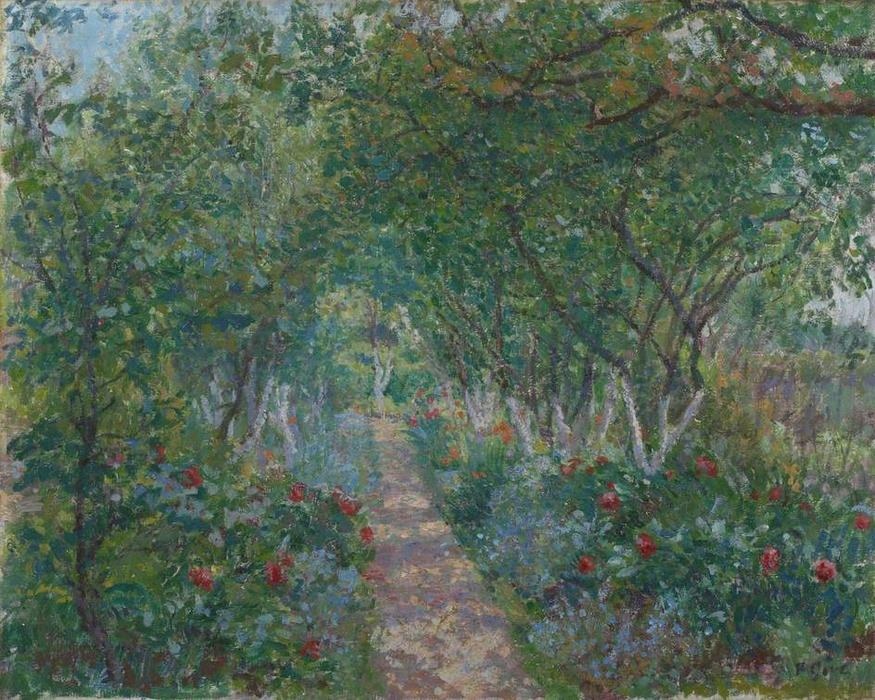 The Garden, Hertingfordbury, 1909 by Spencer Frederick Gore (1878-1914, United Kingdom) | Painting Copy | WahooArt.com