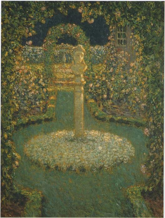 Garden in the full moon, Oil On Canvas by Henri Eugène Augustin Le Sidaner (1862-1939, Mauritius)