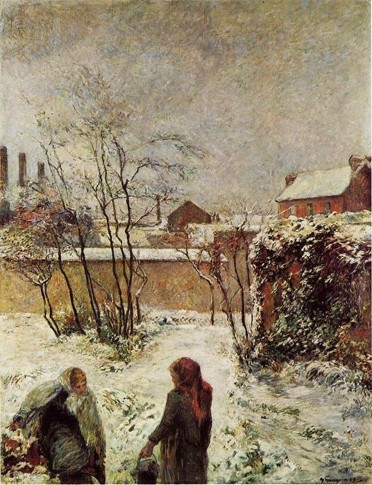 The Garden in Winter, rue Carcel (also known as Snow, Rue Carcel II), 1883 by Paul Gauguin (1848-1903, France) | Museum Quality Copies Paul Gauguin | WahooArt.com