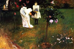 John Singer Sargent - Garden Study with Lucia and Kate Millet (also known as Mrs. Sylvester Baxter Picking Roses)