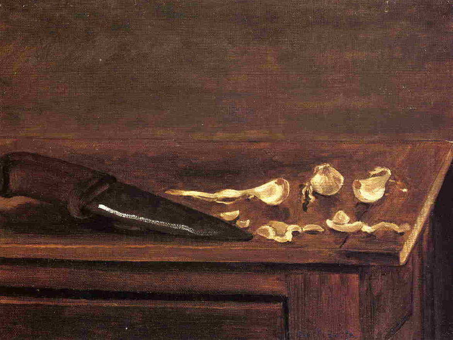 Garlic Cloves and Knife on the Corner of a Table, Oil On Canvas by Gustave Caillebotte (1848-1894, France)