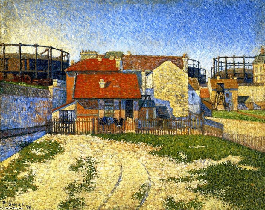 The Gas Tanks at Clichy, 1886 by Paul Signac (1863-1935, France) | Famous Paintings Reproductions | WahooArt.com