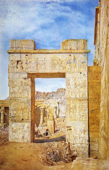 The Gateway of Philadelphus, Philae, Watercolour by Henry Roderick Newman (1833-1918, United States)