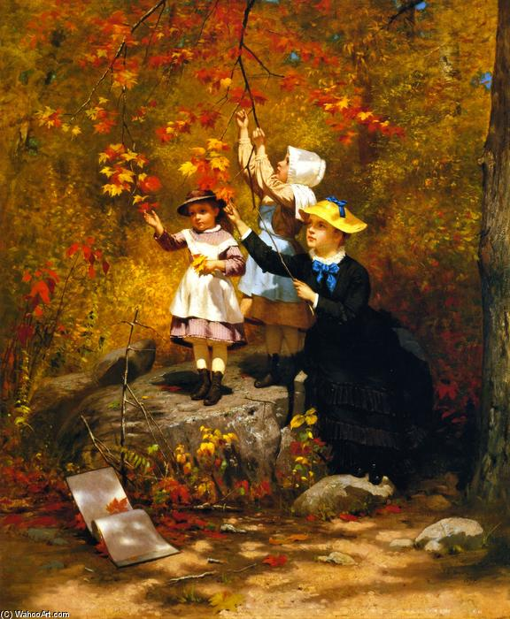 Gathering Autumn Leaves, 1875 by John George Brown (1831-1913, United Kingdom) | Oil Painting | WahooArt.com