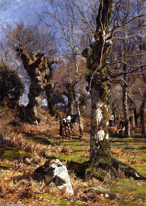 Gathering Leaves, 1878 by Hugh Bolton Jones (1848-1927) | Oil Painting | WahooArt.com