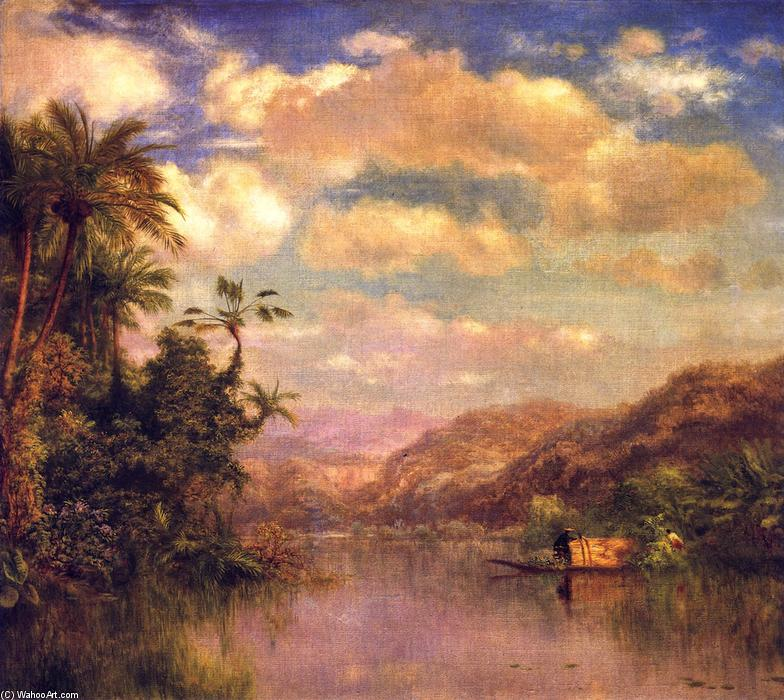 Gathering Plantains, Guayaquil Ecuador, Oil On Canvas by Louis Remy Mignot (1831-1870, United States)