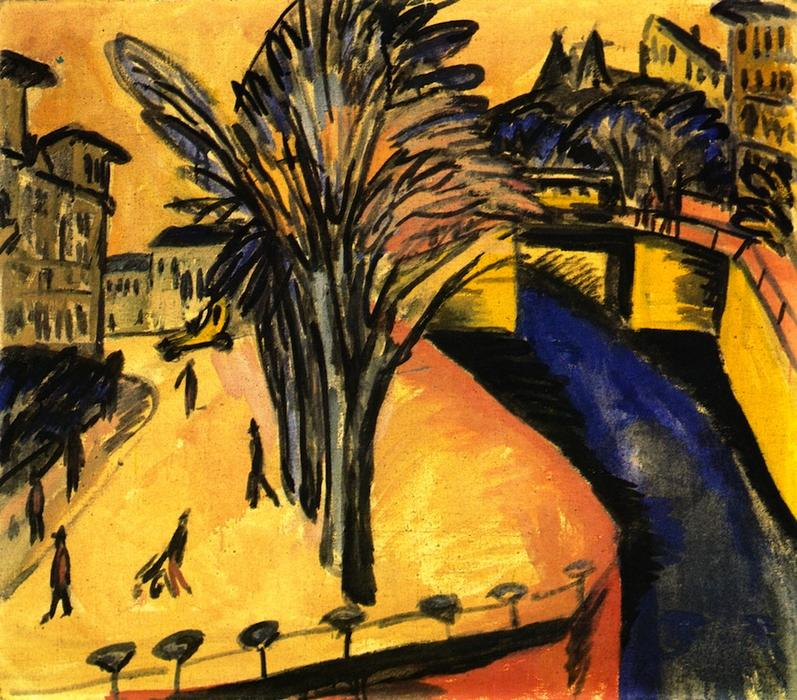 Gelbes Engelsufer, Berlin, Oil On Canvas by Ernst Ludwig Kirchner (1880-1938, Germany)