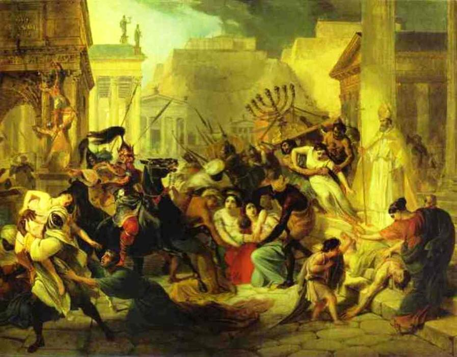 Genserich`s Invasion of Rome. Study, 1833 by Karl Pavlovich Brulloff | Famous Paintings Reproductions | WahooArt.com