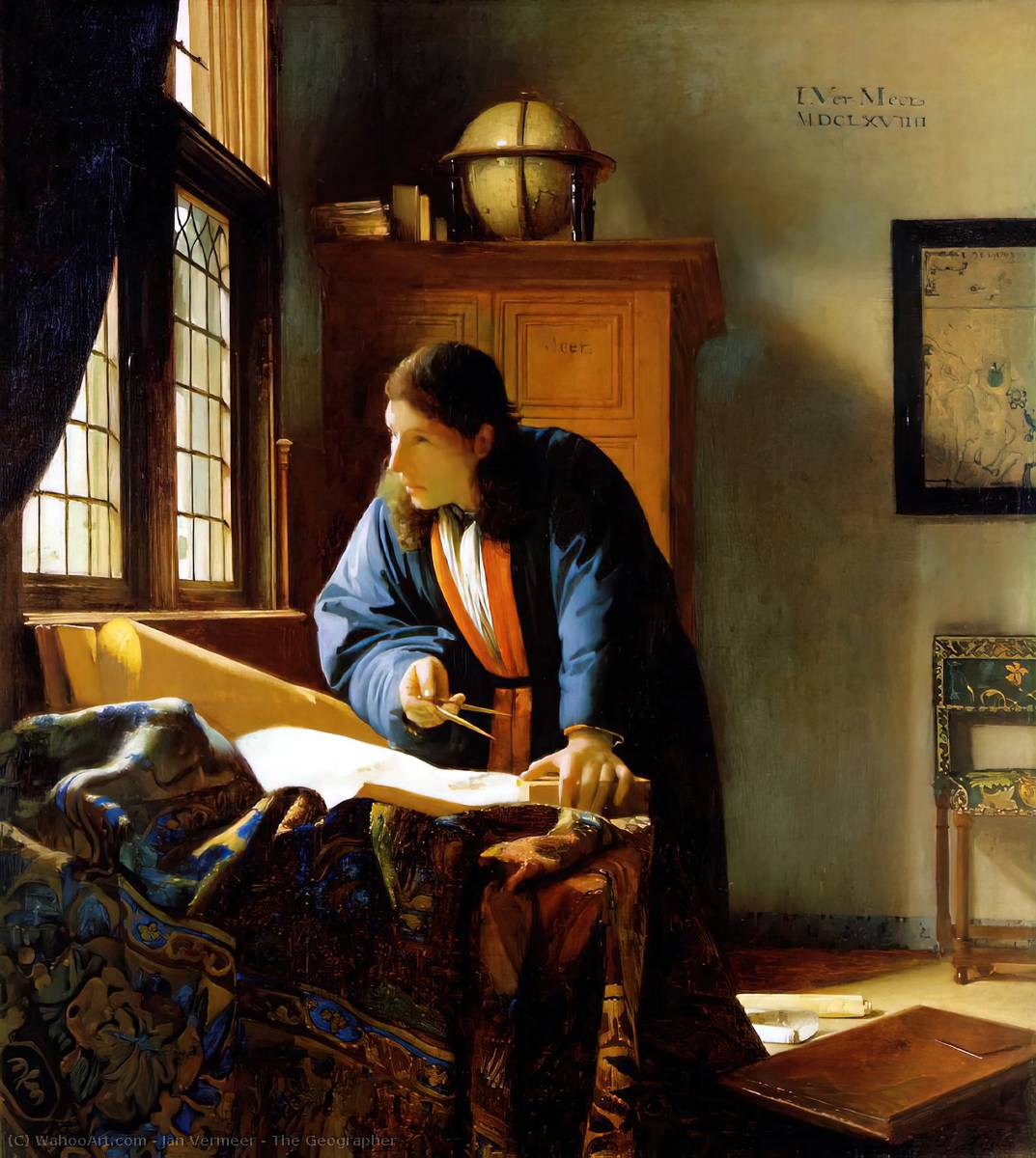 The Geographer, Oil On Canvas by Jan Vermeer (1632-1675, Netherlands)
