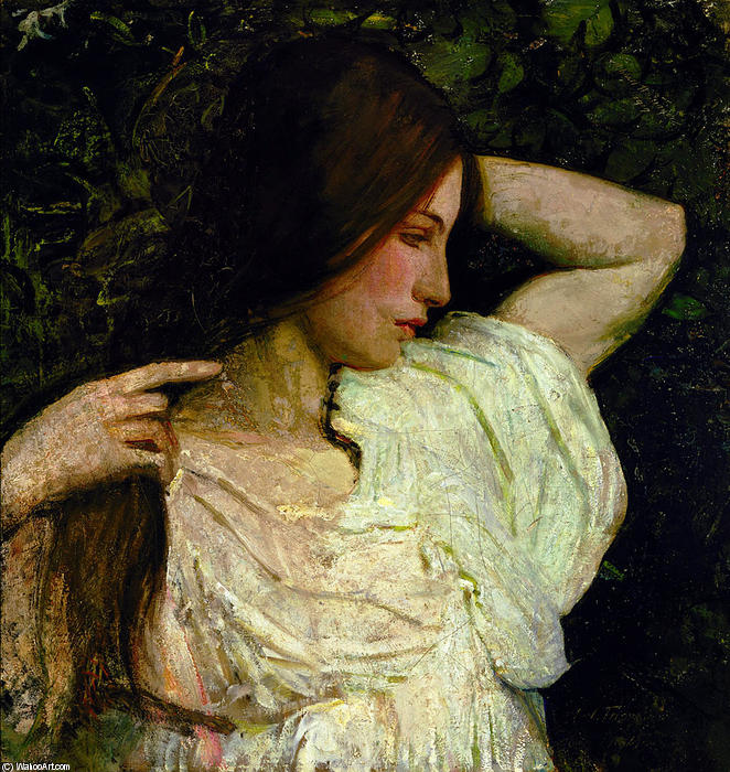 Girl Arranging Her Hair, 1918 by Abbott Handerson Thayer (1849-1921, United States) | Museum Art Reproductions Abbott Handerson Thayer | WahooArt.com
