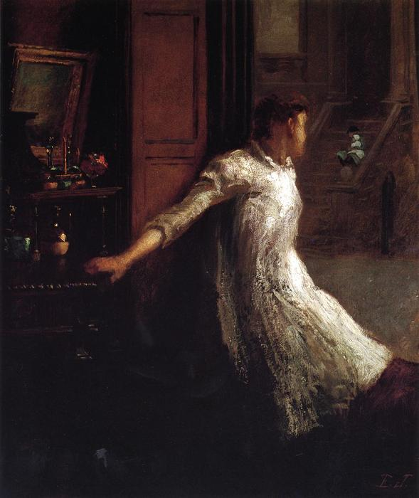 Girl at the Window, Oil On Panel by Jonathan Eastman Johnson (1824-1906, United Kingdom)