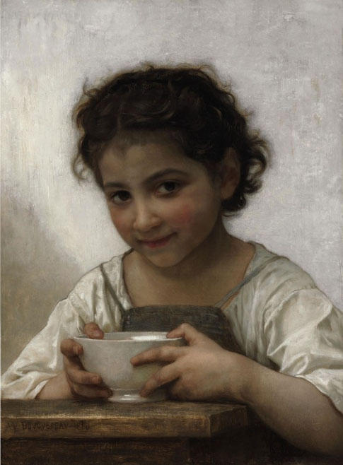 Girl eating porridge, Oil On Canvas by William Adolphe Bouguereau (1825-1905, France)
