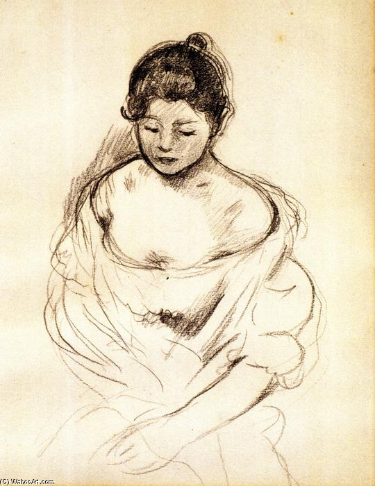 Girl en face with Nude Shoulders, Seated by Berthe Morisot (1841-1895, France) | Paintings Reproductions Berthe Morisot | WahooArt.com