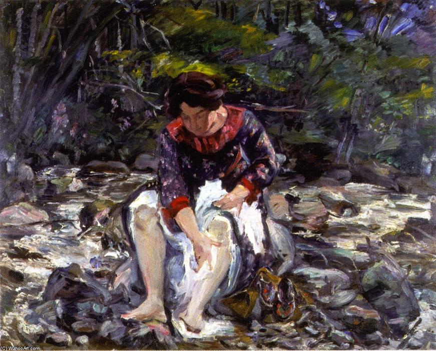 Girl in the Brook (Charlotte Corinth), Oil On Canvas by Lovis Corinth (Franz Heinrich Louis) (1858-1925, Netherlands)