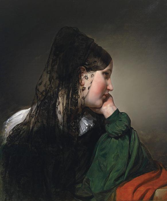 Girl in profile with a black mantilla, Oil On Canvas by Friedrich Ritter Von Amerling (1803-1887)