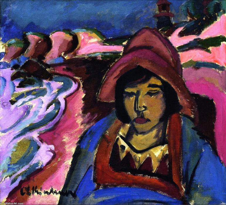 Girl in Southwester, Oil On Canvas by Ernst Ludwig Kirchner (1880-1938, Germany)