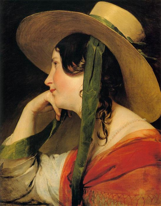 Girl in Yellow Hat, Oil On Canvas by Friedrich Ritter Von Amerling (1803-1887)
