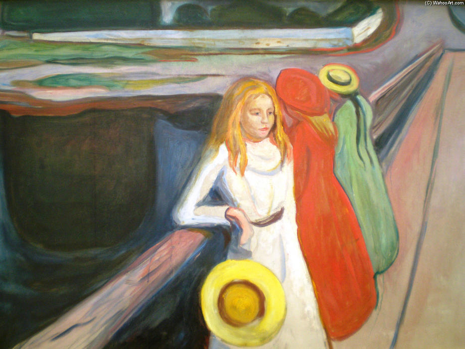 Girl on a Bridge by Edvard Munch (1863-1944, Norway)