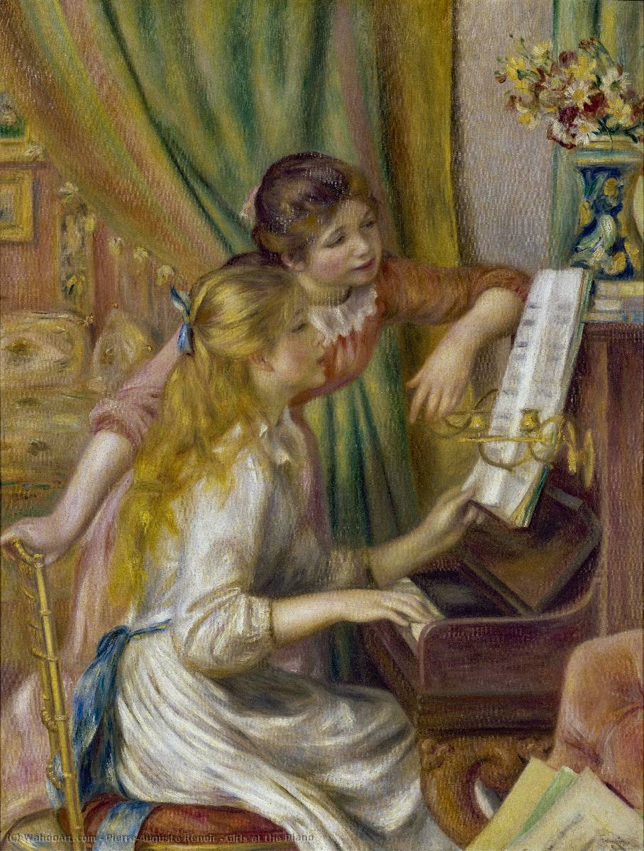 Order Art Reproductions | Girls at the Piano, 1892 by Pierre-Auguste Renoir (1841-1919, France) | WahooArt.com