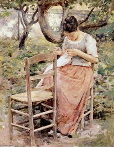 Theodore Robinson - Girl Sewing (also known as The Layette or The Seamstress)