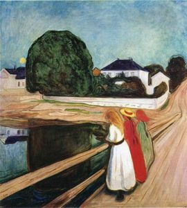Buy Museum Art Reproductions | The Girls on the Bridge, 1901 by Edvard Munch (1863-1944, Sweden) | WahooArt.com