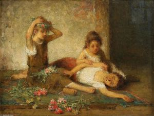 Alexei Alexeievich Harlamoff - Girls with flowers