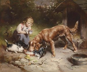 Carl Reichert - Girl with dog and cats (also known as Dinner party)
