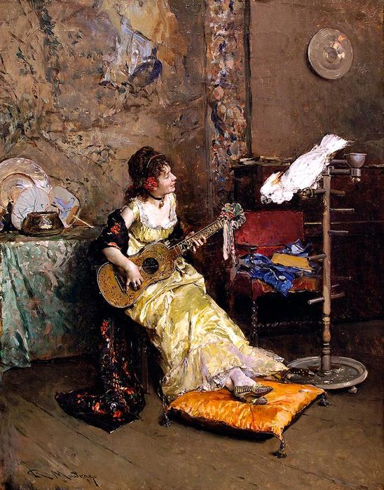 Girl With A Guitar and Parrot by Raimundo De Madrazo Y Garreta (1841-1920, Italy)