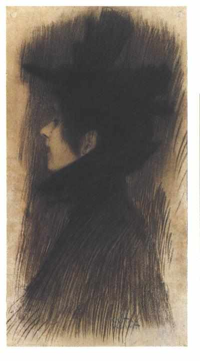 Girl with hat and cape in profile by Gustav Klimt (1862-1918, Austria) | Art Reproductions Gustav Klimt | WahooArt.com