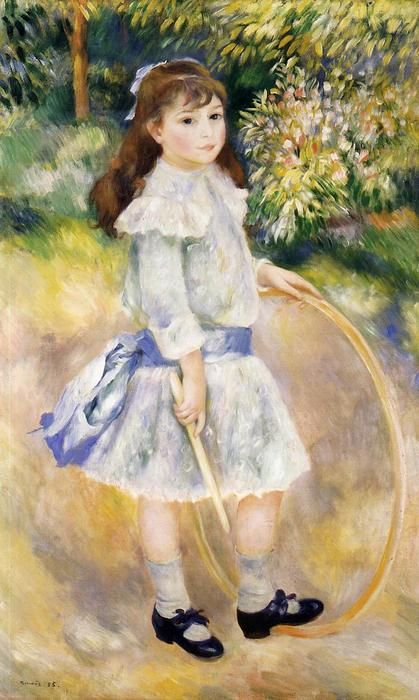 Girl with a Hoop, Oil On Canvas by Pierre-Auguste Renoir (1841-1919, France)