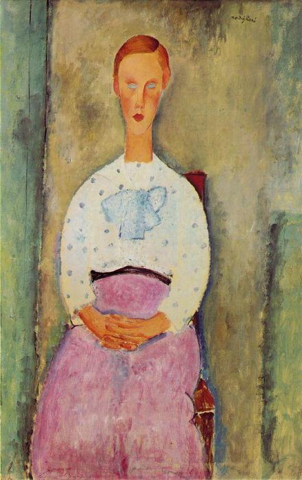 Girl with a polka-dot blouse, Oil On Canvas by Amedeo Modigliani (1884-1920, Italy)